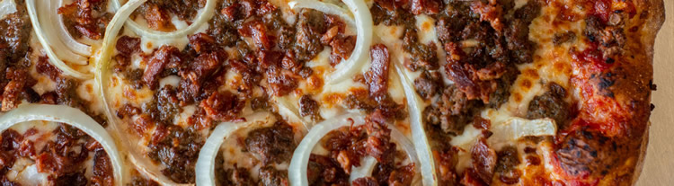 Caraglio's Specialty Pizza - Meatball, Bacon, and Ham with onions